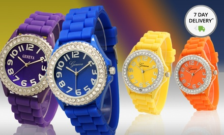 Women's Crystal-Embellished Silicone Watches. Multiple Colors Available. Free Returns.