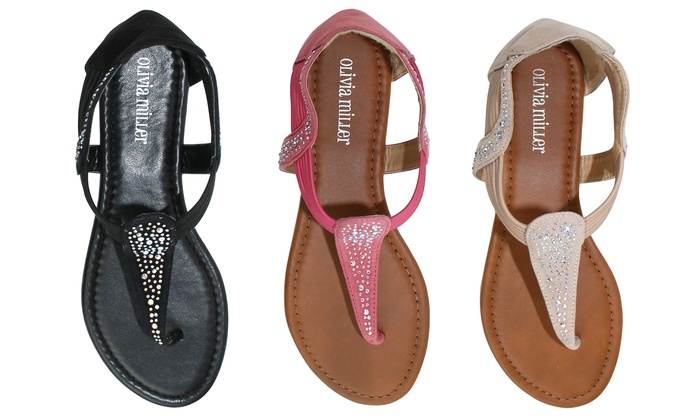 Olivia Miller Vicenza Women's Stone Embellished Bungy Sandals