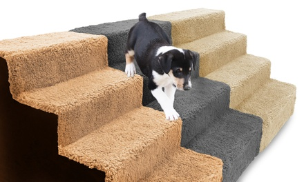 Sherpa-Top High-Density Foam Stairs for Pets with Removable Cover
