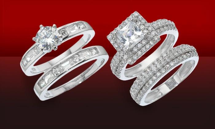 TwoPiece Engagement Ring Set Groupon Goods