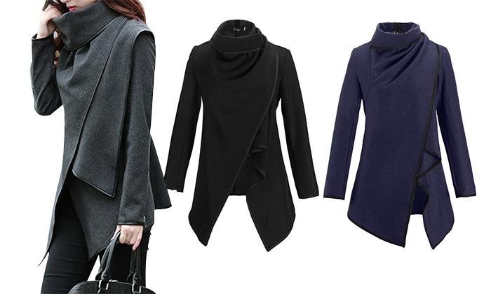 Ladies' Wool Blend Wrap Coat | Groupon Goods