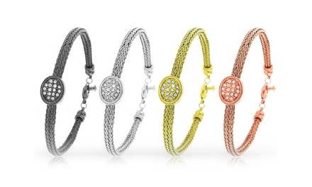 Women's Stainless Steel Mesh Bangles with Swarovski Crystal Elements