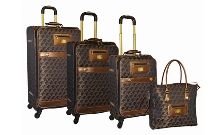 Adrienne Vittadini Signature Collection 4-Piece Jacquard Luggage Set