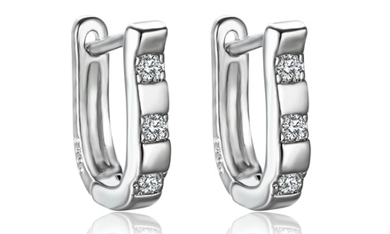 2 CTTW Swarovski Elements 3-Stone Hoop Earrings in 18K White Gold Plated Brass