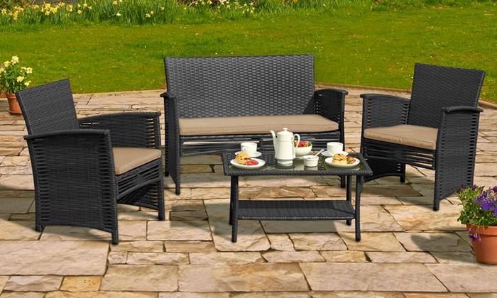Four Piece Rattan Sofa Set Groupon Goods