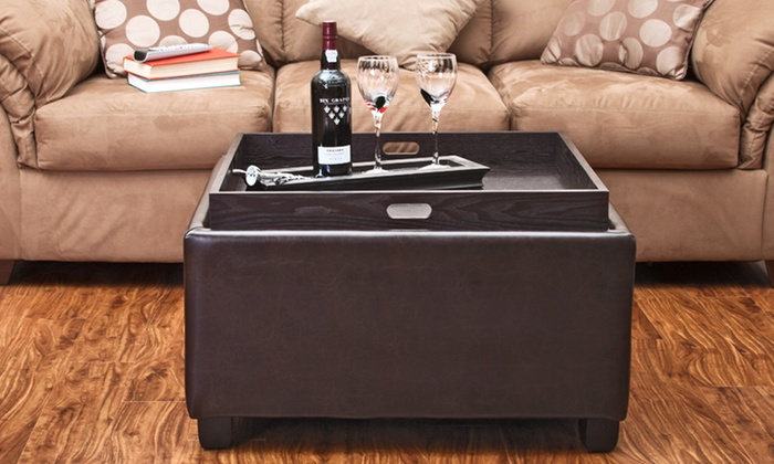 Brown Leather Cocktail Ottoman with Tray Top: Brown Leather Cocktail Ottoman with Tray Top. Free Shipping and Returns.