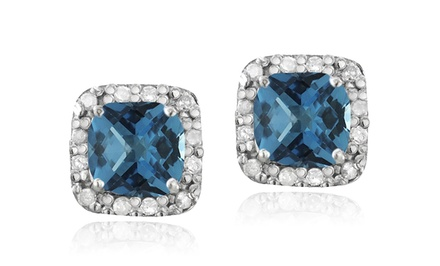 2.1 CTTW London Blue Topaz and Diamond Stud Earrings