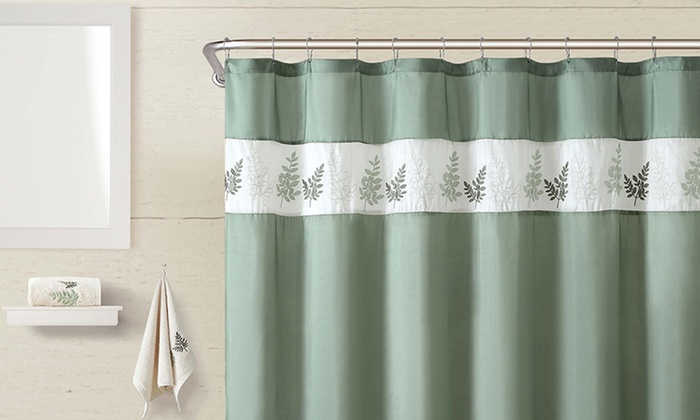 Embroidered shower curtain set groupon goods