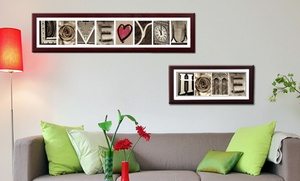 """Imagine Letters: Up to Eight Custom Letters and """"Love"""" Print with Optional Frame and """"Home"""" Print from Imagine Letters (Up to 79% Off)"""
