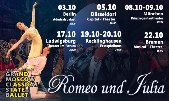 """2x """"Romeo und Julia"""" – Grand Moscow Classical Ballet im Okt. 2017 u. a. in Berlin, München, Düsseldorf (bis 44% sparen)"""