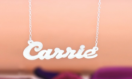 $10 for a Sterling-Silver-Plated Script Name Necklace in the Carrie Style from MonogramHub ($49.99 Value)