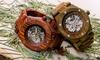 Earth Grand Mesa Men's Automatic Skeleton Wood Bracelet Watch
