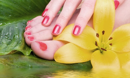 Gel Manicure and Spa Pedicure with Optional Mineral Scrub and Foot Massage (Up to 71%Off)