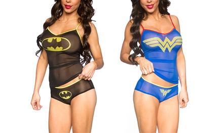 Undergirl Women's DC Comics Mesh Cami and Panty Set in Batman or Wonder Woman
