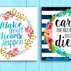 """12""""x12"""" Shabby Chic Watercolor Wreaths with Quotes"""