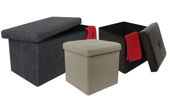 Square or Rectangular Folding Storage Ottoman or Coffee Table