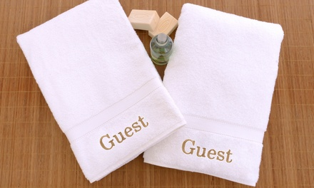Luxury Hotel & Spa Collection Set of 2 Guest Embroidered Hand Towels