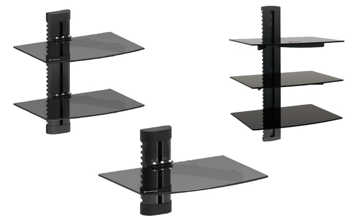 GForce Adjustable Wall-Mounted Shelves for AV and Media Components