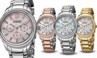 August Steiner Ladies Crystal Mother of Pearl Multi Function Dial Watch