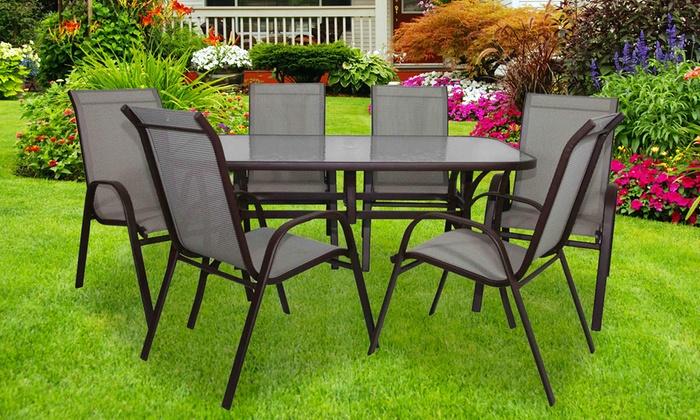 Tavolo da giardino e 6 sedie groupon - Tavoli e sedie da esterno ...