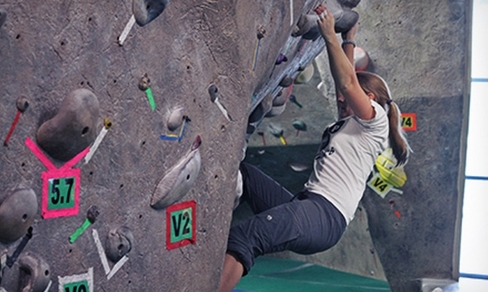 Boulders Climbing Gym - Hawthorne: Indoor Rock-Climbing Visit and Gear for a Couple or Family, or a New-Climber Package at Boulders Climbing Gym (Half Off)