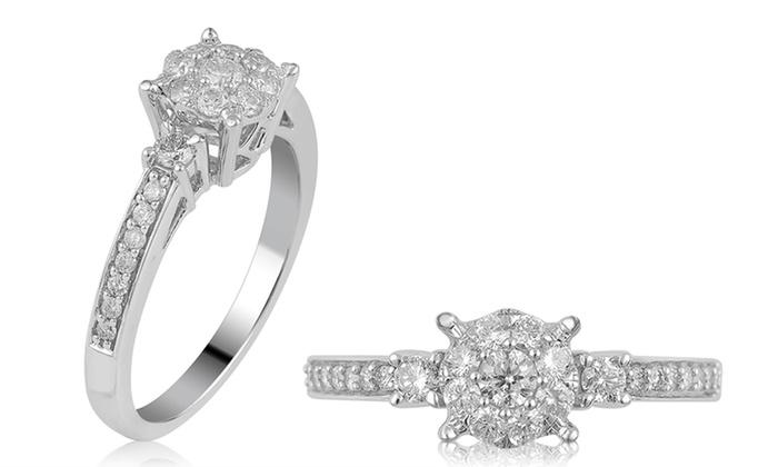 0.65 CTTW Diamond Engagement Ring in 10K White Gold: 0.65 CTTW Diamond Engagement Ring in 10K White Gold
