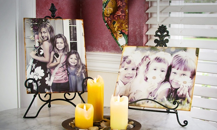 "WoodPix Custom Wooden Photo Blocks: 1 or 2 Custom 8""x10"" Wooden Photo Blocks from WoodPix. Free Shipping."