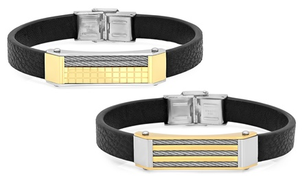 Men's Faux Leather Bracelet with Cable Wire Accent in Stainless Steel and 18K Gold Plating