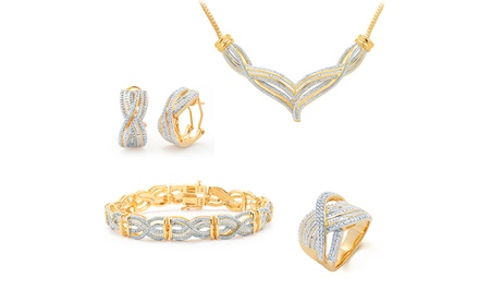 1 CTTW Diamond Jewelry 4-Piece Set with Ring, Earrings, Necklace, and Bracelet
