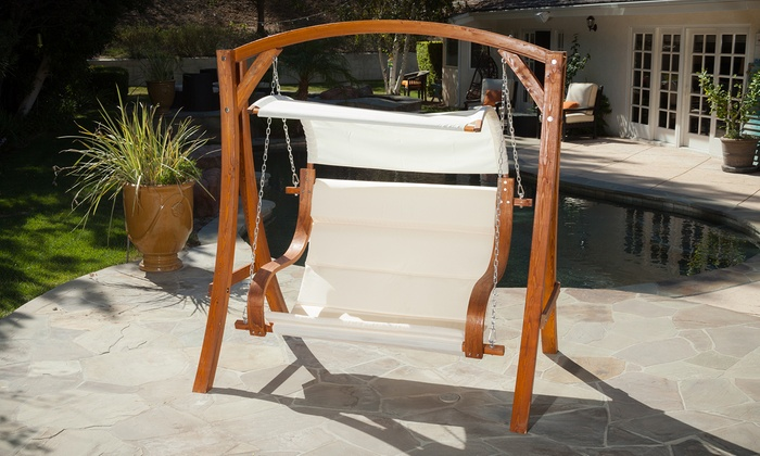 Serena Outdoor Teak Stained Wood Swinging Loveseat And Canopy