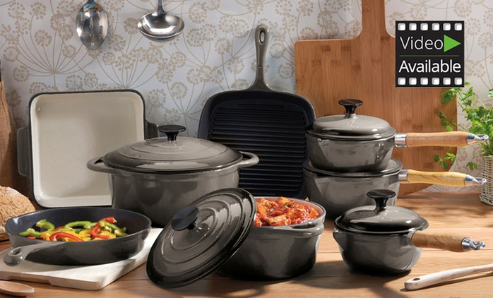 Cooks Professional 3-, 5- or 8-Piece Cast Iron Pan Set from £39.98 With Free Delivery (Up to 76% Off)