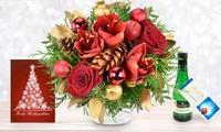 Weihnachtlicher Blumenstrauß in Rot, Silber oder Gold mit Schokolade, Perlwein und Grußkarte von Bluvesa (32% sparen*)