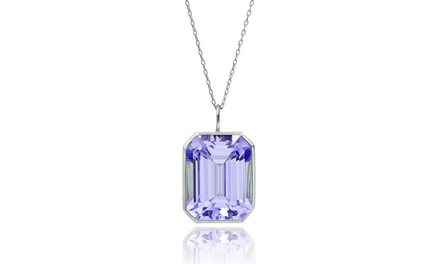 5.00 CTTW Genuine Emerald-Cut Amethyst Pendant in Sterling Silver