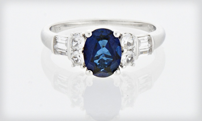 Sterling Silver Sapphire Ring: $29 for a Blue and White Lab-Created Sapphire Ring Set in Sterling Silver ($199 List Price). Free Shipping and Returns.