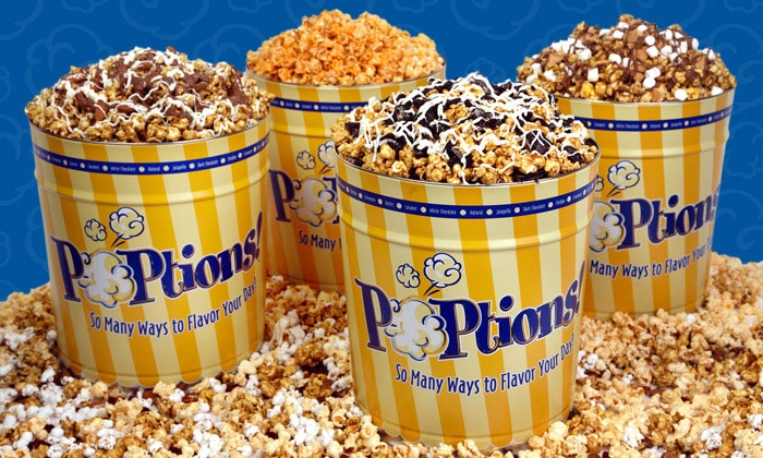 POPtions! Popcorn - Ladue: Gourmet Popcorn Bags and Tins at POPtions! Popcorn (50% Off). Two Options Available