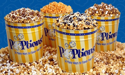 $15 for $35 Worth of Gourmet-Popcorn Tins from POPtions! Popcorn