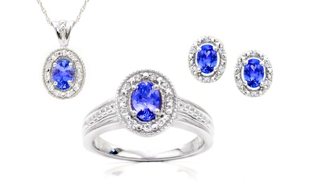 Genuine Tanzanite & White Topaz Pendant, Ring, or Earrings