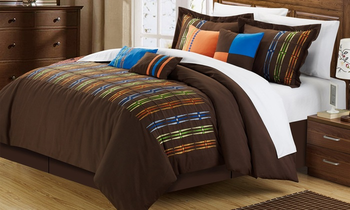 12-Piece Embroidered Comforter Sets: 12-Piece Embroidered Comforter Sets in Brown or Fuchsia. Free Returns.