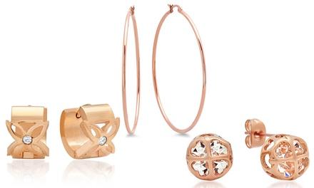 Hoop, Stud, or Huggie Earrings in 18K Rose Gold Plated Stainless Steel