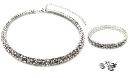 3-Piece Twin Row Jewelry Set with Swarovski Elements