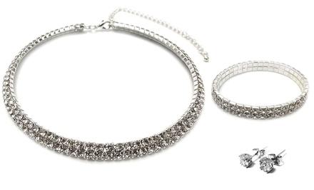 3-Piece Twin Row Jewelry Set with Swarovski Elements
