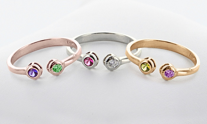Monogram Online: Personalized Couples Ring with Birthstones from Monogram Online (Up to 57% Off). Three Options Available.