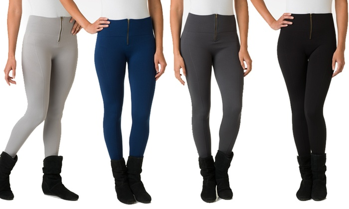 6-Pack of Ladies' Fleece-Lined Leggings With Front Zipper : 6-Pack of Ladies' Fleece-Lined Leggings With Front Zipper. Multiple Styles Available.
