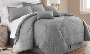 Hotel New York 6-piece Embossed-plaid Comforter Set