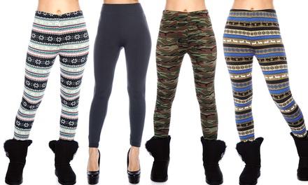 Printed Fleece-Lined Leggings