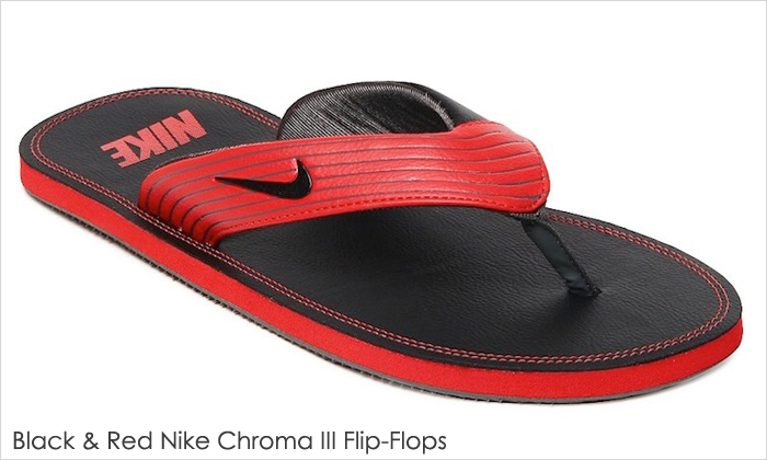 Black & Red Nike Chroma III Flip-Flops