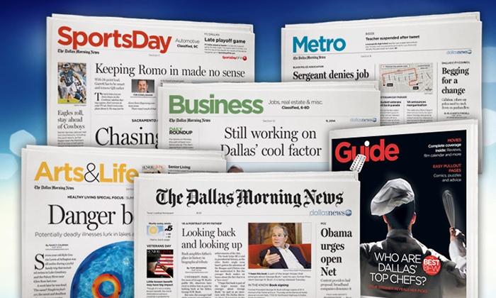 "The Dallas Morning News: 13 Weeks of 7-day Print Delivery of ""The Dallas Morning News"" with Optional Digital Access (Up to 78% Off)"