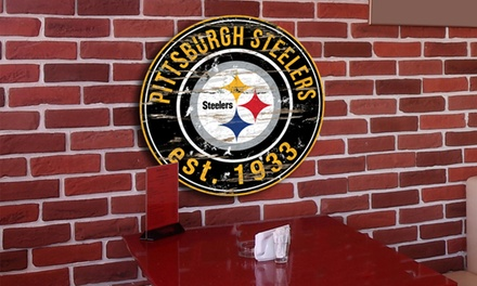 NFL Round Distressed Sign