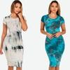 Women's Short-Sleeved Tie-Dye Bodycon Midi Dress