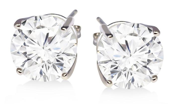 2 Cttw White Topaz Stud Earrings In Sterling Silver